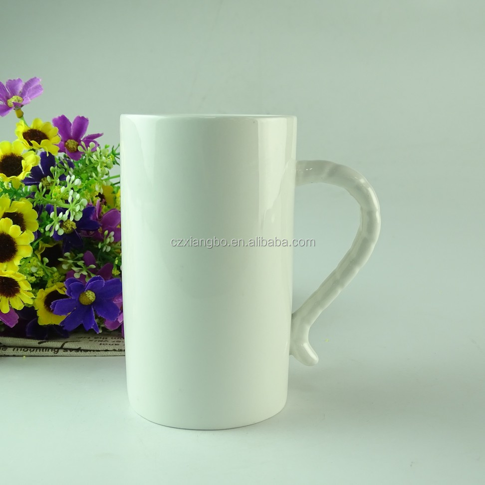 Wholesale round white ceramic drinking mug stock
