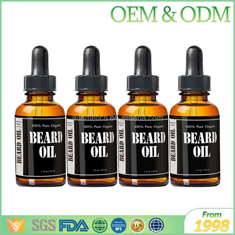 Wholesale high quality organic beard oil custom glass bottle package beard oil private label for men