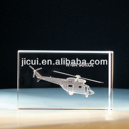 3D Laser Engraved Cube Crystal Airplane