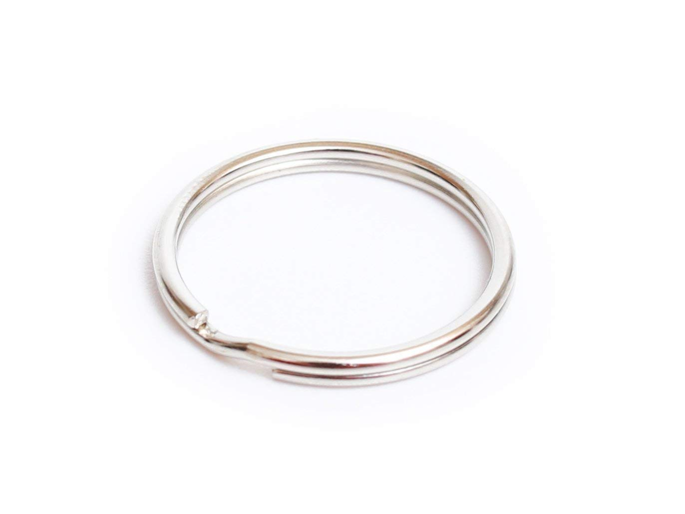 "50PCS Lead Free Nickel Plated Steel Round Split Ring Key Rings - Heat Treated for Strength - 1.2""(30mm) Diameter"
