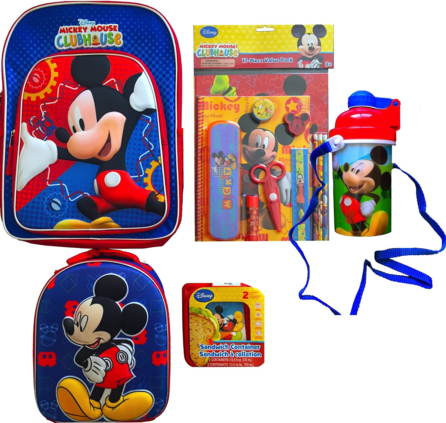 mickey mouse clubhouse childrens school backpack with mickey mouse lunch bag mickey mouse clubhouse 11 piece school supplies value pack - Mickey Mouse Clubhouse Christmas