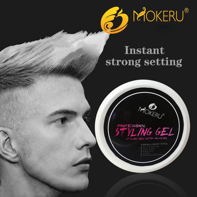 Custom brand name extreme hold water soluble barber hair gel hair styling gel for men
