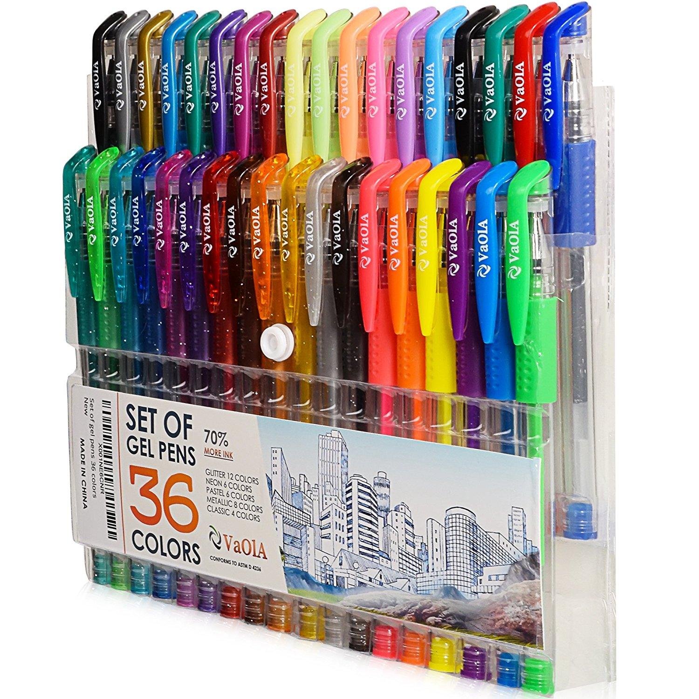 Color Gel Pens - Gel Pens for Kids - Coloring Pens - Gel Pens Set - Pen Sets for Girls - Pen Art Set - Artist Gel Pens - Drawing Pens for Kids - Draw Pens - 36 Gel Pen - Arts Pens