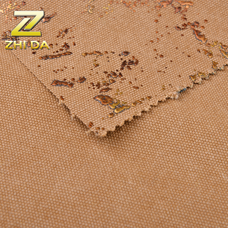16oz washed printing  bronzed  foil fabric with 80% cotton and 20% polyester for laptop backpack