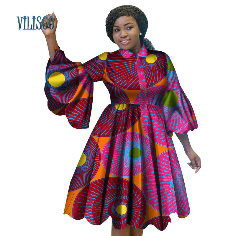 Wholesale African Print Dresses for Women Bazin Riche Lovely Ruffles Sleeve Red Dress Traditional African Womens Clothing WY3222