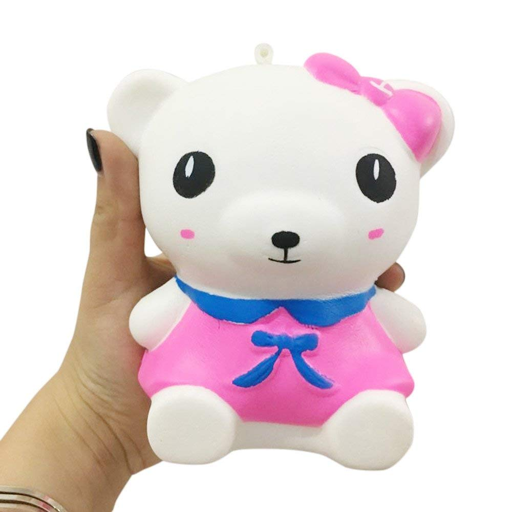 Hot Sale Squishies Toy,Yamally_9R 12cm Kawaii Jumbo Slow Rising Bow Tie Bear Squishies Cute Charms Stress Relief Toys Squeeze Gifts, Lovely Kid Toy Large Pink Bear