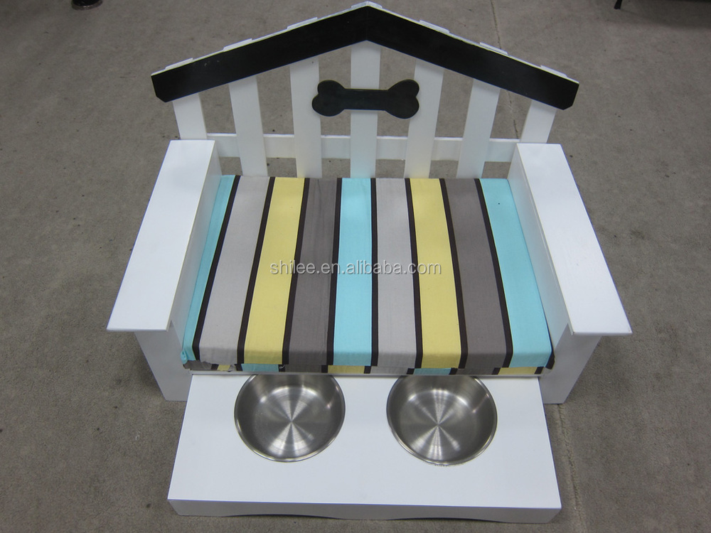 Wooden pet bed sofa with colorful dog cushion with stainless steel bowls