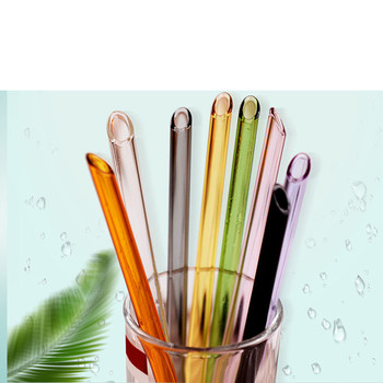Non-toxic bent flat mouth pyrex glass drinking straw Eco-friendly bent glass straw bent flat mouth glass straw