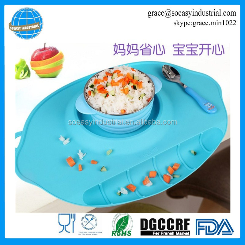 Foldable Silicone Baby Suction Placemat Food Mat Dinning Table Mat
