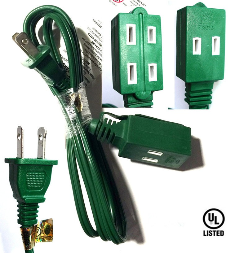 15-feet 3 Outlet Falt Plug Extension Cord 16awg Indoor