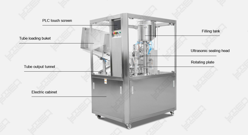 Beauty use auto tube filling sealing coding machine for cosmetics