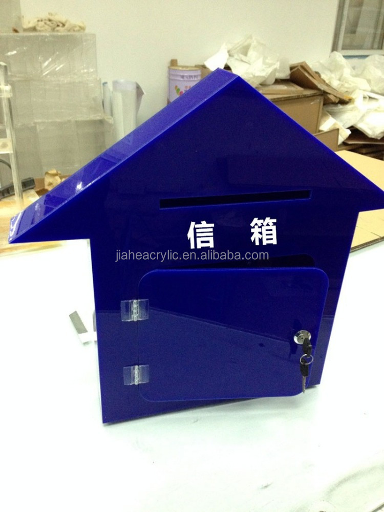 High quality unique house shape blue acrylic ballot box suggestion box for sale