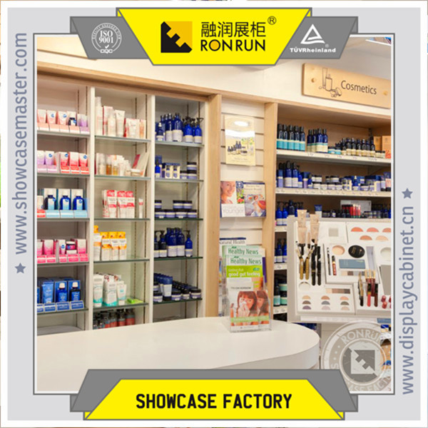 Elegant Body Care Shop Furniture Design, Face Care Display Wooden Shelf, Cosmetics  Display Wooden Counter