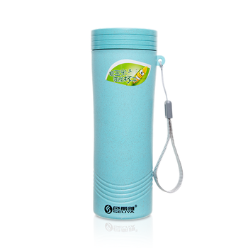Eco life insulated 350ml wheat straw lid cup water bottle with custom logo