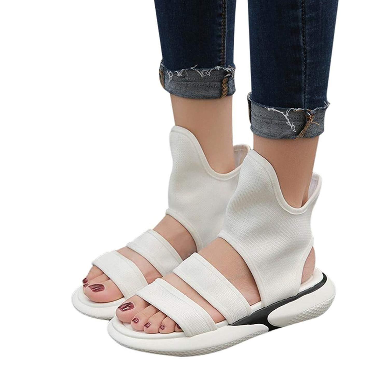 cbe91ddc79e Get Quotations · Fheaven Wide Strap Sandals Women Soft Flat Shoes Summer  Sandals Boot Shoes