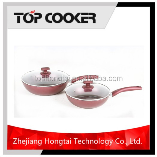 Aluminium Wine Red Non-stick Cookware Set