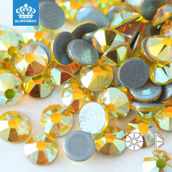 16 cuts SS20 Citrine AB color Blinginbox hot sell strong glue flat back glass iron on rhinestone