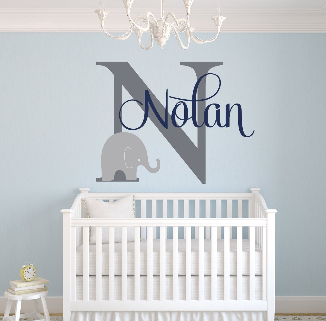 Custom Elephant Name Wall Decal For Boys Baby Room Decor Nursery Decals