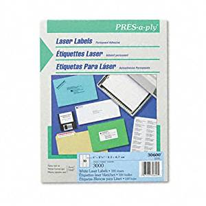 """PRES-a-ply Mailing Labels (Set of 2) [Set of 2] Quantity: 3000 / Box, Label Size: 2.63"""" H x 1"""" W"""