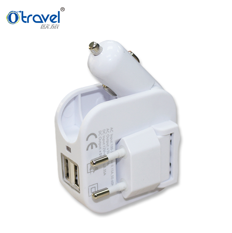 1A 2A 2 port retractable car charger micro usb 3 in 1 car charger with cable