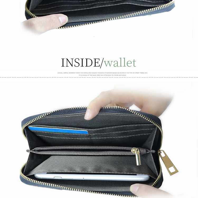 Zippered multifunctional passport holder ladies coin purse women quality cell phone wallet