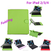 Stylish Folding Folio Leather Bluetooth Keyboard Case for iPad 2/3/4