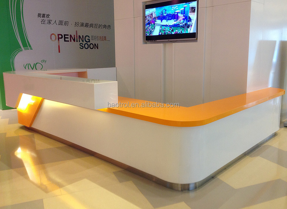 Solid Surface Stone Reception Counter Modern Shop Cash