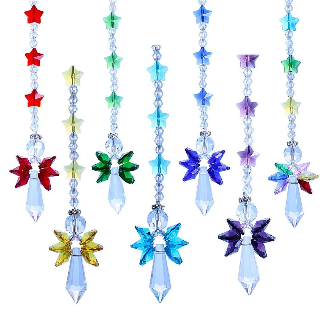Crystalsuncatcher Crystal Glass Guardian Angel Rainbow Maker Collection Suncather,Set of 7