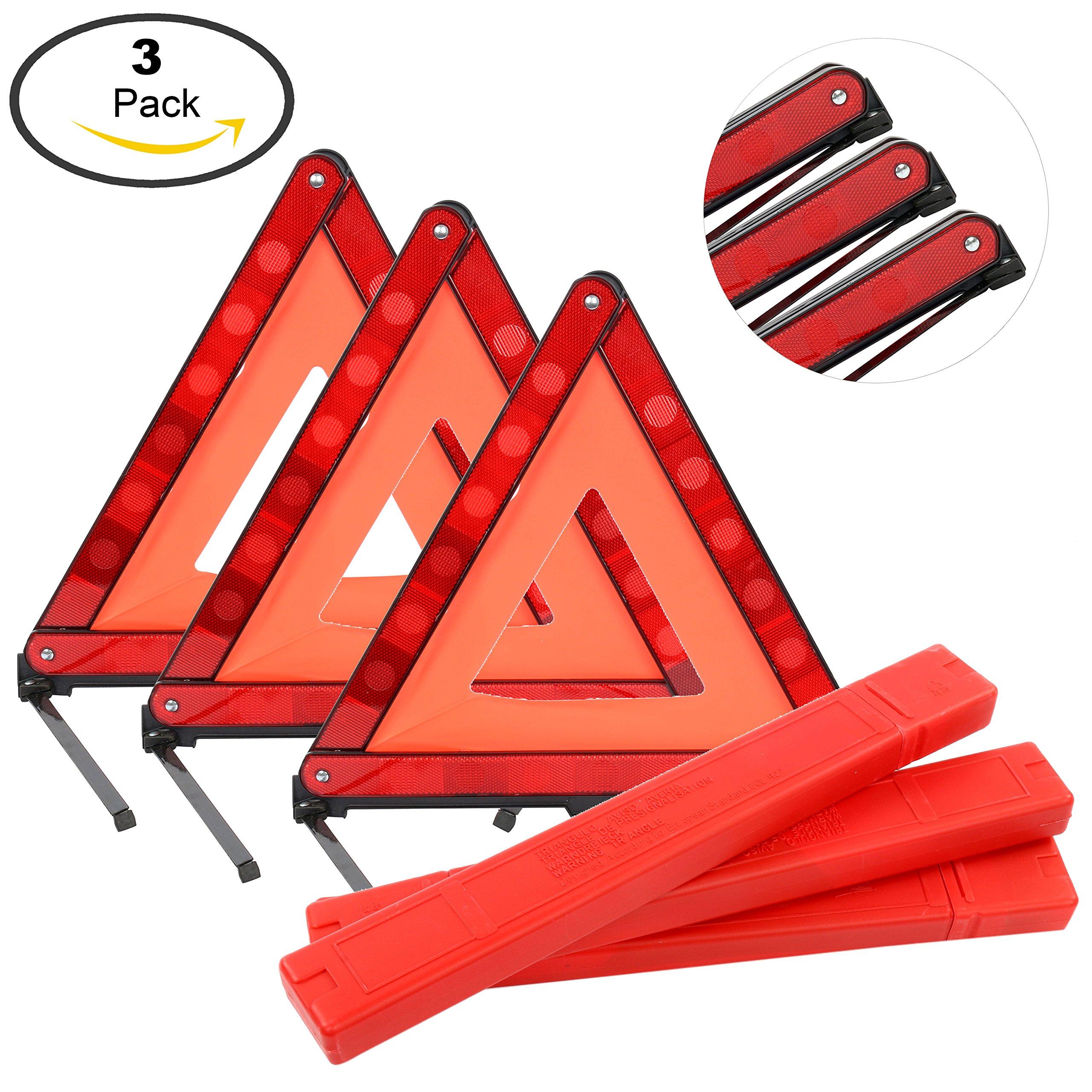 Yaekoo Triple Warning Triangle Emergency Warning Triangle Reflector Safety Triangle Kit, Foldable Reflective Roadside Safety Warning Sign, 3-Pack