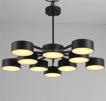 Italian Living Room Hall Modern Retro Iron Finish Led Ing Large Round Ceiling Lighting Chandelier Pendant Lamp