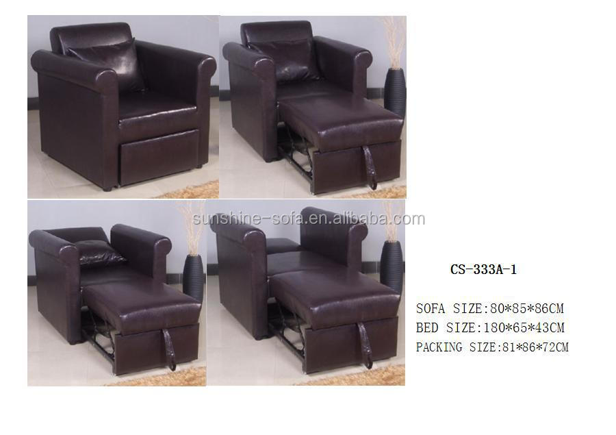 Hot Single Leather Sofa Bed Chair Furniture