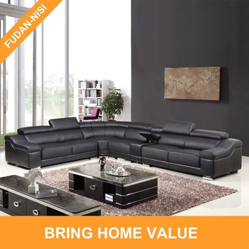Living Room Furniture Top Grain Leather Sofa Set Designs Black King Size  Chaise Lounge Modern