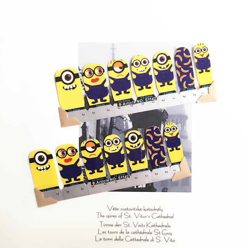 Cute Minions Nail Arts Sticker 14 pcs set Waterproof Nail Decal Art Sticker Gel Polish Manicure