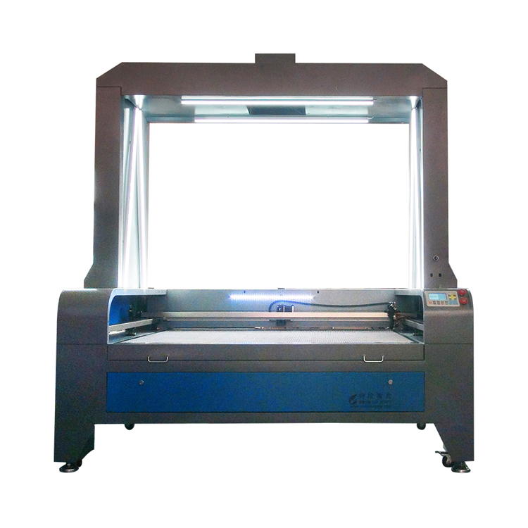 full view CCD 1610 1810 double laser cutting head ccd camera autofeed fabric leather cloth garment laser label cutting machine