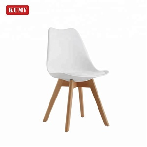 Modern home furniture silla tulipan comfortable beautiful white tulip upholstered solid wood leg plastic dining chair