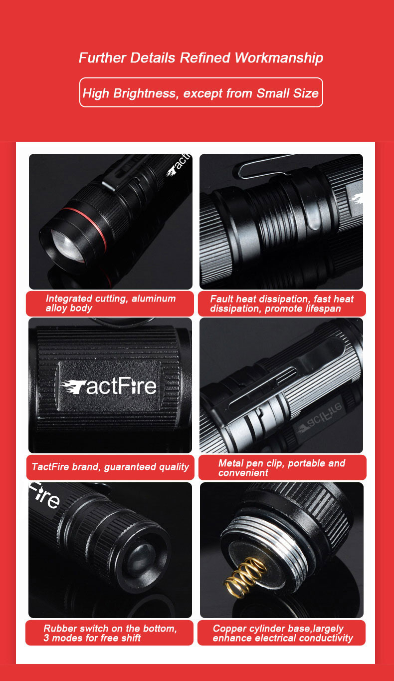 Mini Strong Brightness Waterproof Dimmable 3 Modes Retractable Flashlight Black
