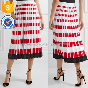 Fitted Large Pleats Black Stripes Hem White Basic Summer Skirts For Ladies Manufacture Wholesale Fashion Women Apparel (TE0075k)
