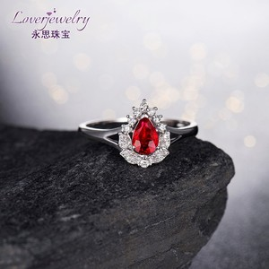 Fashion fancy buyers natural Ruby Main Stone 18K white gold Ruby rings from indonesia