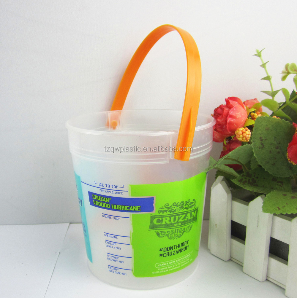 1000ml Plastic Cruzan Rum Punch Bucket Punches With Handle