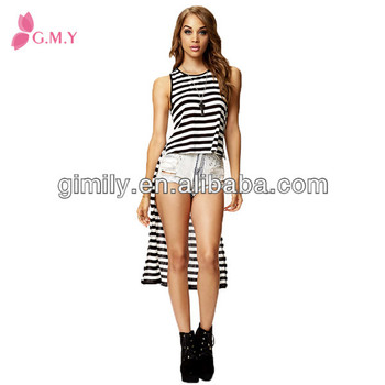 Atest Long Tops Designs Girls Black White Strip Summer Thin Cotton ...