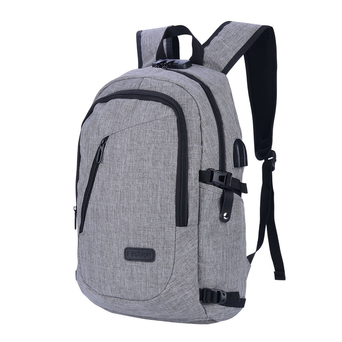 ea58ea281d5c Get Quotations · CkeyiN Water Resistant Oxford Fabric Laptop Backpack with  USB Charging Port Earphone Hole Anti-theft