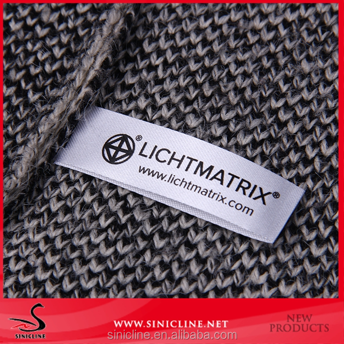 Sinicline china OEM design center fold satin printed textile label for clothing