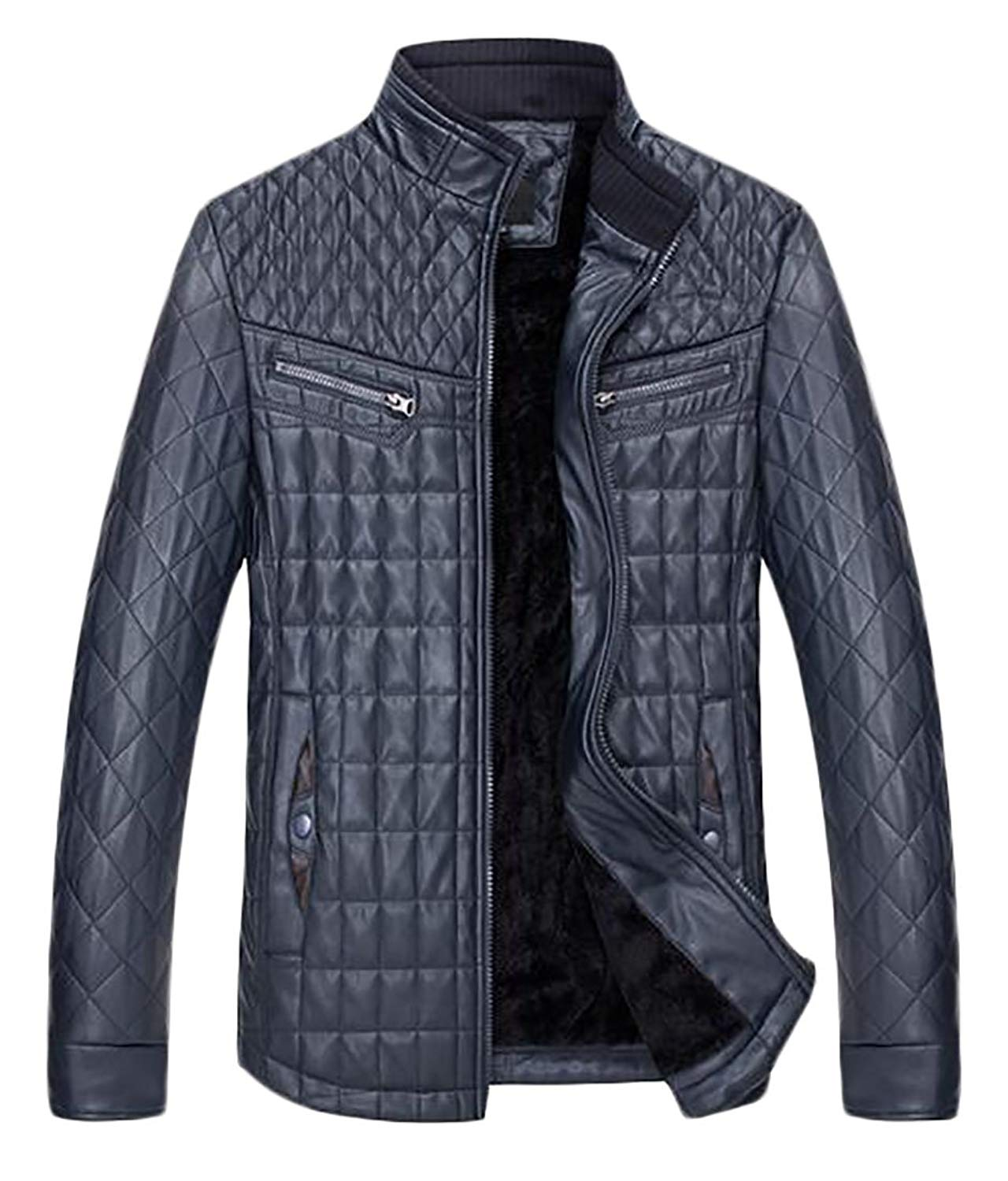 fb9975fbea1 Get Quotations · WSPLYSPJY Men¡¯s Warm Faux Leather Jacket Stand Collar Winter  Jacket Motorcycle Zip Jacket