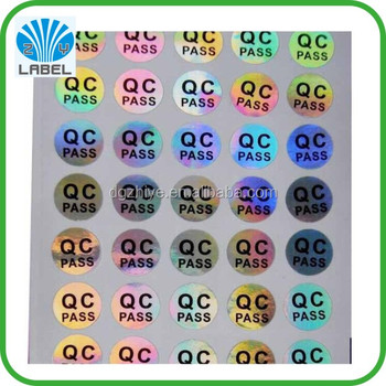 Custom quality control inspection labels plain hologram round qc stickers