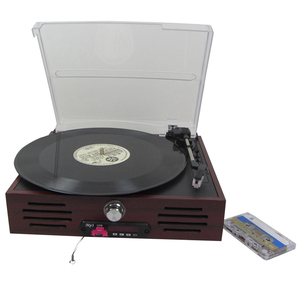 Multifunctional classic vinyl player electric gramophone mp3 cassett record player with usb