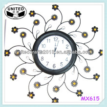 2014 New Style Modern and Fancy Design Flower Metal Clock For Wall Decor