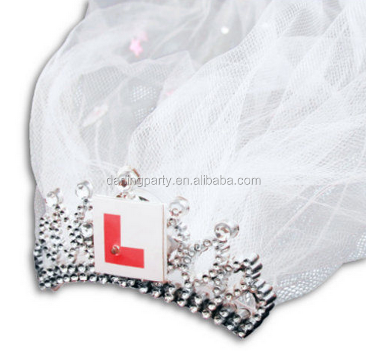 New HEN PARTY/NIGHT TIARA AND VEIL WITH L PLATE
