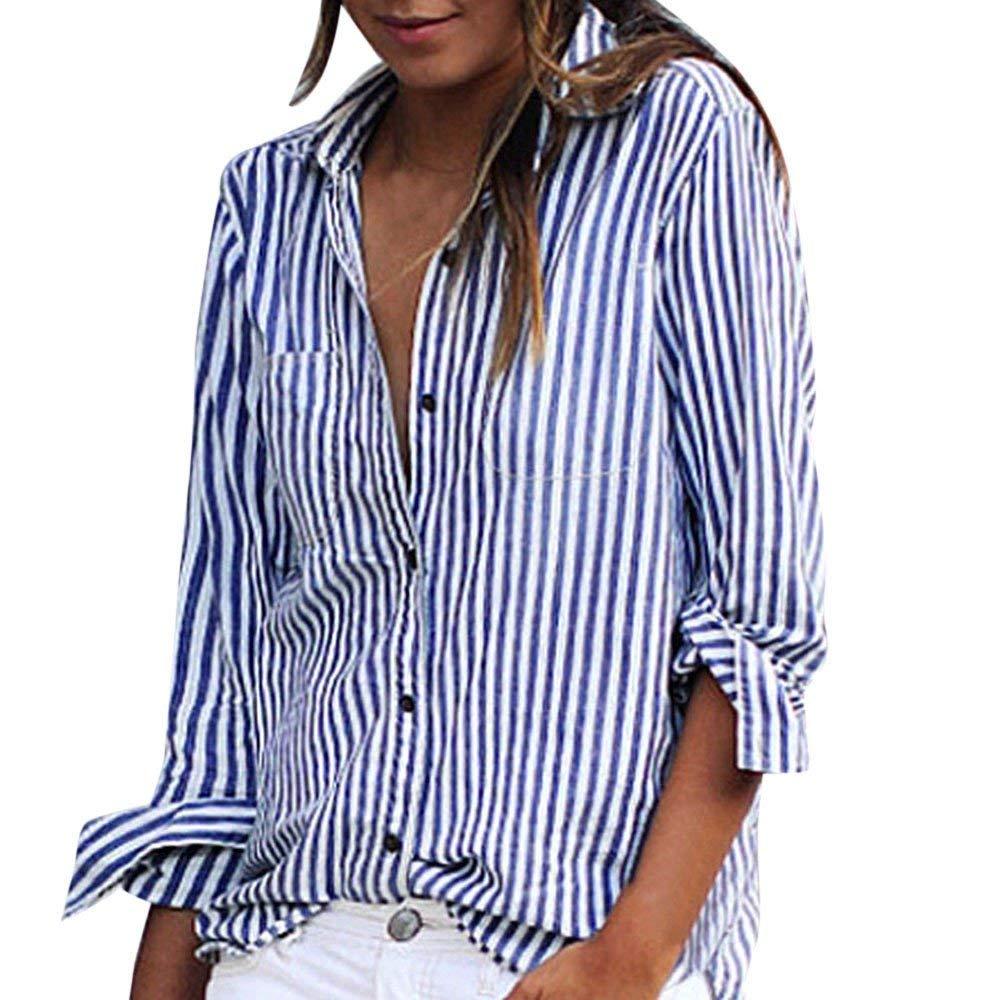 Women's Shirt Long Sleeve, Wugeshangmao Ladies Striped Print Chiffon Tops Button Down Blouses Tunic Sweatshirt Pollover