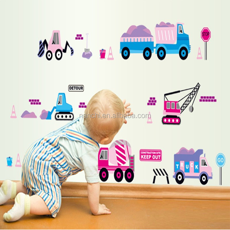 Little boy cars wall decor stickers children's gift wall sticker home decoration for boy son room vinyl wall decal