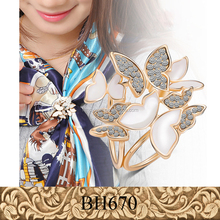 Fancylove Jewelry fashion new Tricyclic Scarf clips glaze diamond dual purpose butterfly brooch